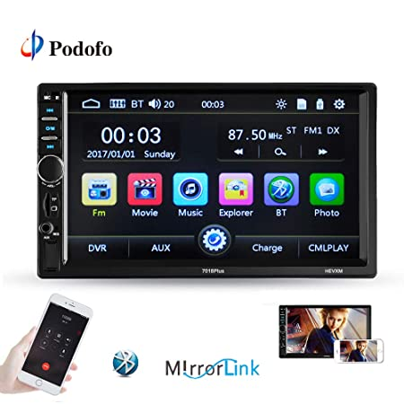 Podofo Double Din Car Stereo – Bluetooth Radio Receiver 7 LCD Touch Screen MP3 USB SD AM FM Audio Radio Support iOS Android Mirror Link Bluetooth Hands Free Calling