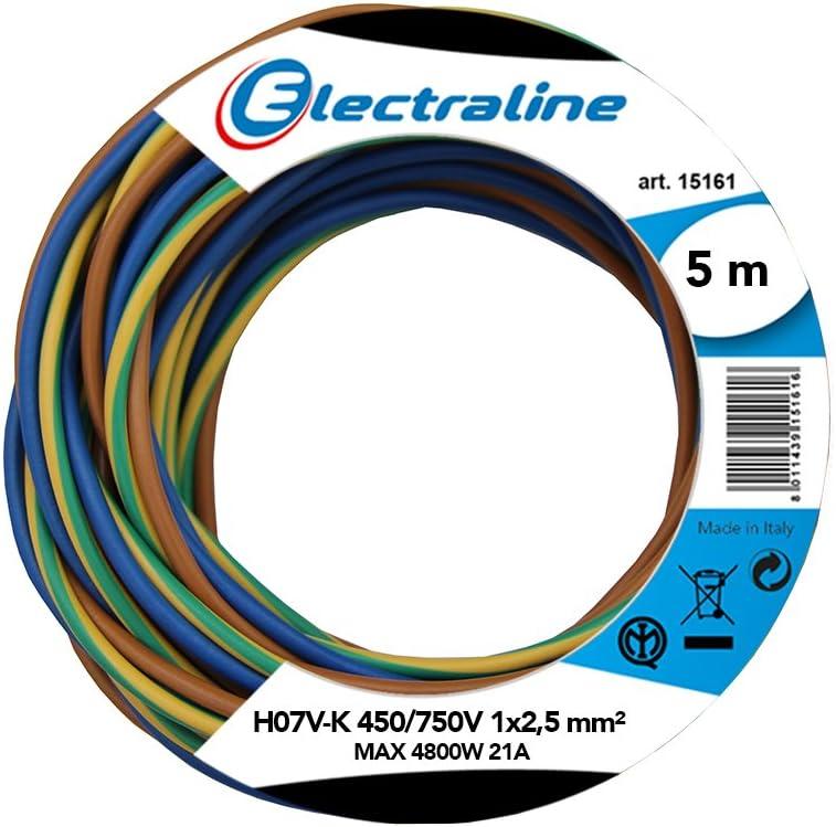 H07V-K 450//750V 1x2,5mm; 5 m Couleur : Marron//Bleu//Vert//Jaune Bobine de C/âble-K section Electraline 25148