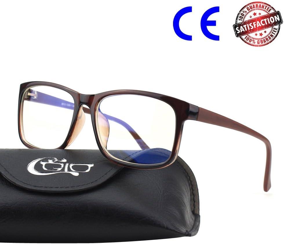 CGID CT12 Gafas Proteccion Luz Azul, Anti Fatiga por Deslumbramiento, Previene Dolores de Cabeza o Fatiga Visual, Gafas Seguros para Computadora/Celular,Vintage Rectangular Negro, Lentes Transparente