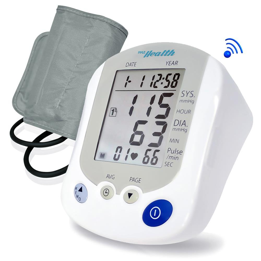 Portable Automatic Blood Pressure Tracker - Digital Bluetooth Pulse Rate Systolic Diastolic BP Monitor Machine, Works w/Pyle Health App, Standard Cuff Fits Large, Any Size Upper Arm - Pyle