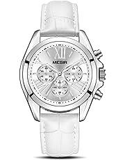 MEGIR Women's Leather Strap Wrist Watches Analogue Chronograph Quartz Watches