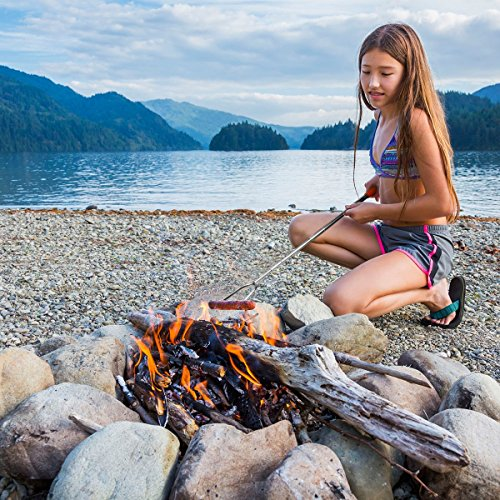 """MCIRCO Marshmallow Roasting Sticks,Set of 10 Pack 42"""" Telescoping Smores Skewers Hot Dog Extending Stainless Steel Forks for Camping, Campfire, Bonfire Kids by MCIRCO (Image #5)'"""