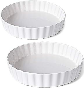 Delling 11.5 inch Fluted Tart Pan, Ceramic Quiche Baking Dish Pan for Quiche Lorraine and Chicken Pot Pie, Round, White, Set of 2