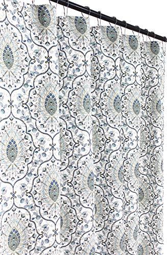 Fabric Shower Curtains for Bathroom: Printed Cloth Medallion Damask Design (Blue)