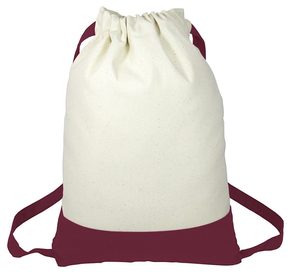School Set of 6 Two Tone Fancy Heavy Canvas Drawstring Backpacks for Sports Travel