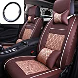 Fly5D Car Seat Covers 10Pcs Compatible Universal Front Rear Ice Silk PU Lether 5-Seats BMW Honda Toyota Seat Covers Cushion Full Sets
