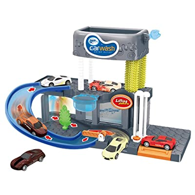 Yuege City Car Wash Connectable Play Set with Diecast and Mini Toy Car Ultimate Car Wash Playset Automatic Lift Car Wash Set Toy with Color Changing Alloy Cars for Kids: Sports & Outdoors [5Bkhe0500184]