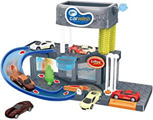 ALWMHWOE Car Wash Connectable Play Set with Diecast and Mini Toy Car Ultimate Car Wash Playset Automatic Lift Car Toy with Color Changing Alloy Cars