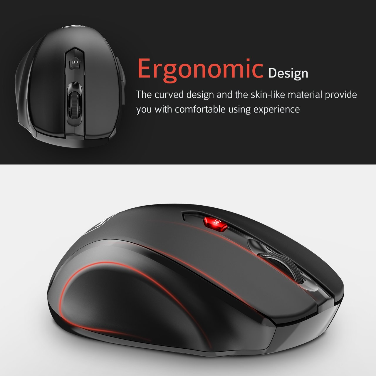 Super Energy Saving Nano Receiver Black Pictek 2.4G USB Wireless Mice Optical PC Laptop Computer Cordless Mouse 2400 DPI for Windows Mac Macbook Linux Wireless Mouse Updated Version 6 Buttons