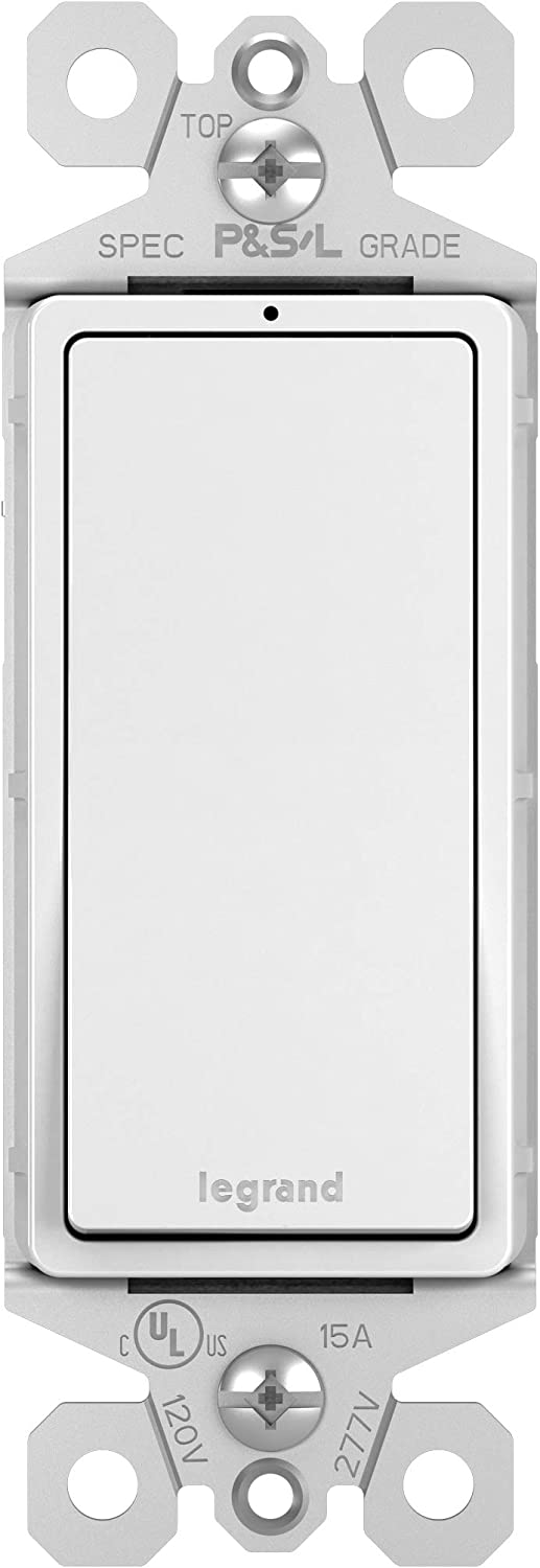 Legrand radiant 15 Amp Rocker Wall Switch with LED Locator Light, Decorator Light Switches, White, Single Pole, TM870WSLCC10