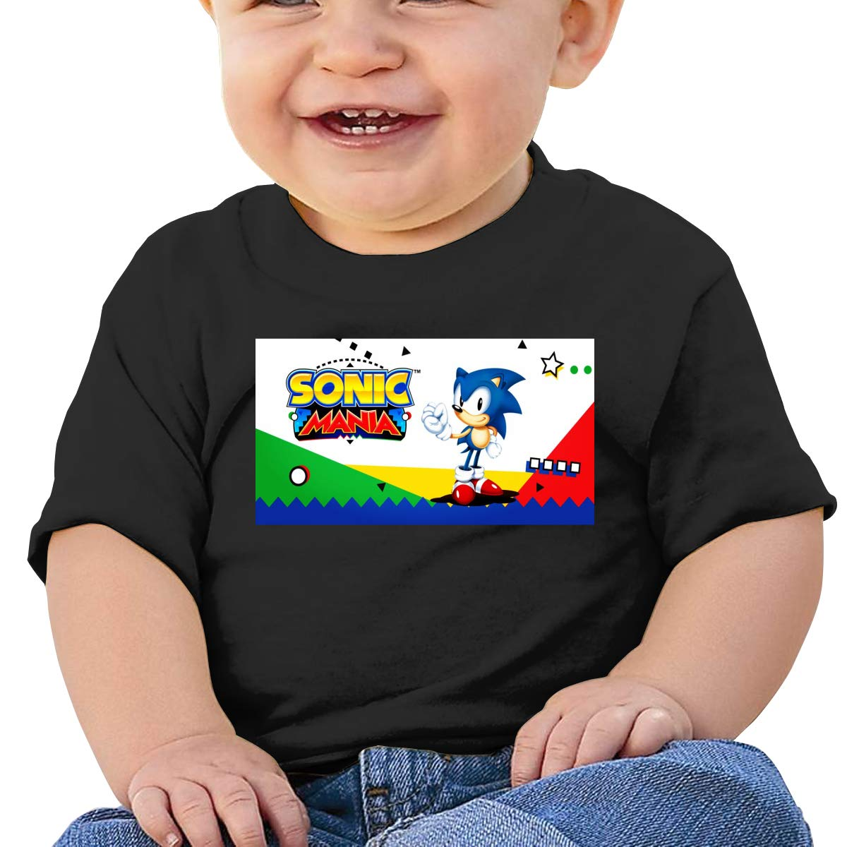 FHTD Sonic Mania Infant Graphic T-Shirt Baby Cartoon Cotton Tees Black