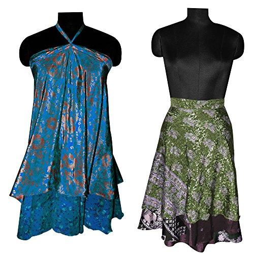 - Set of 2 100% Pure Silk Vintage Saree Wrap Skirt Reversible Long Wrap Around Top/Skirt/Dress/Beach Cover up