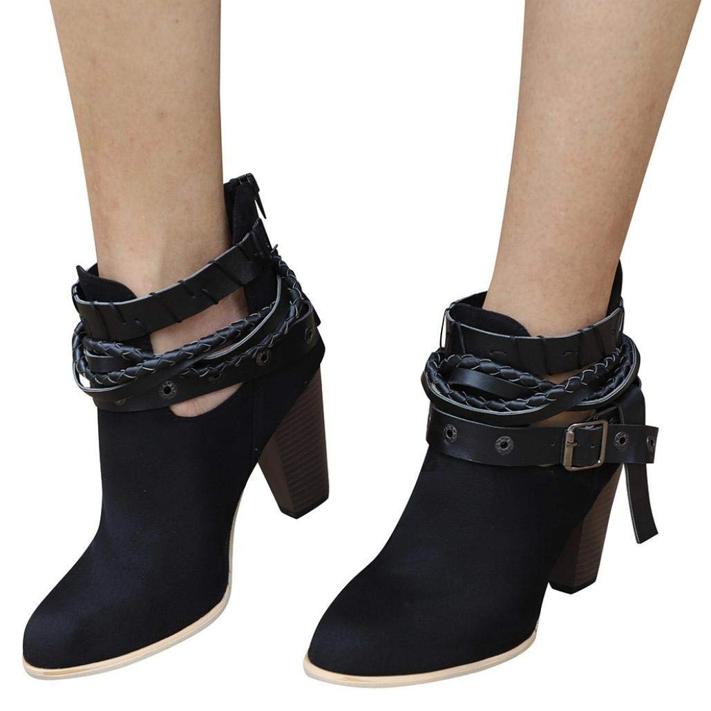 Gyoume Women High Heel Boots Wedge Ankle Short Booties Shoes Peep Toe Boots Buckle Boots