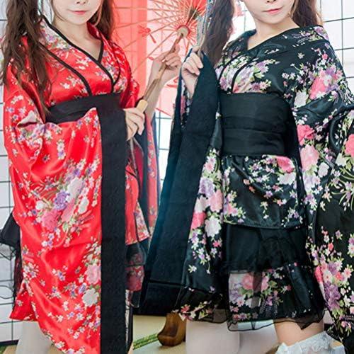 rosso FENICAL Donne Fiori di Ciliegio Anime Cosplay Lolita Vestito Kimono giapponese Costume Vestiti Abbigliamento Halloween Costume Taglia XL
