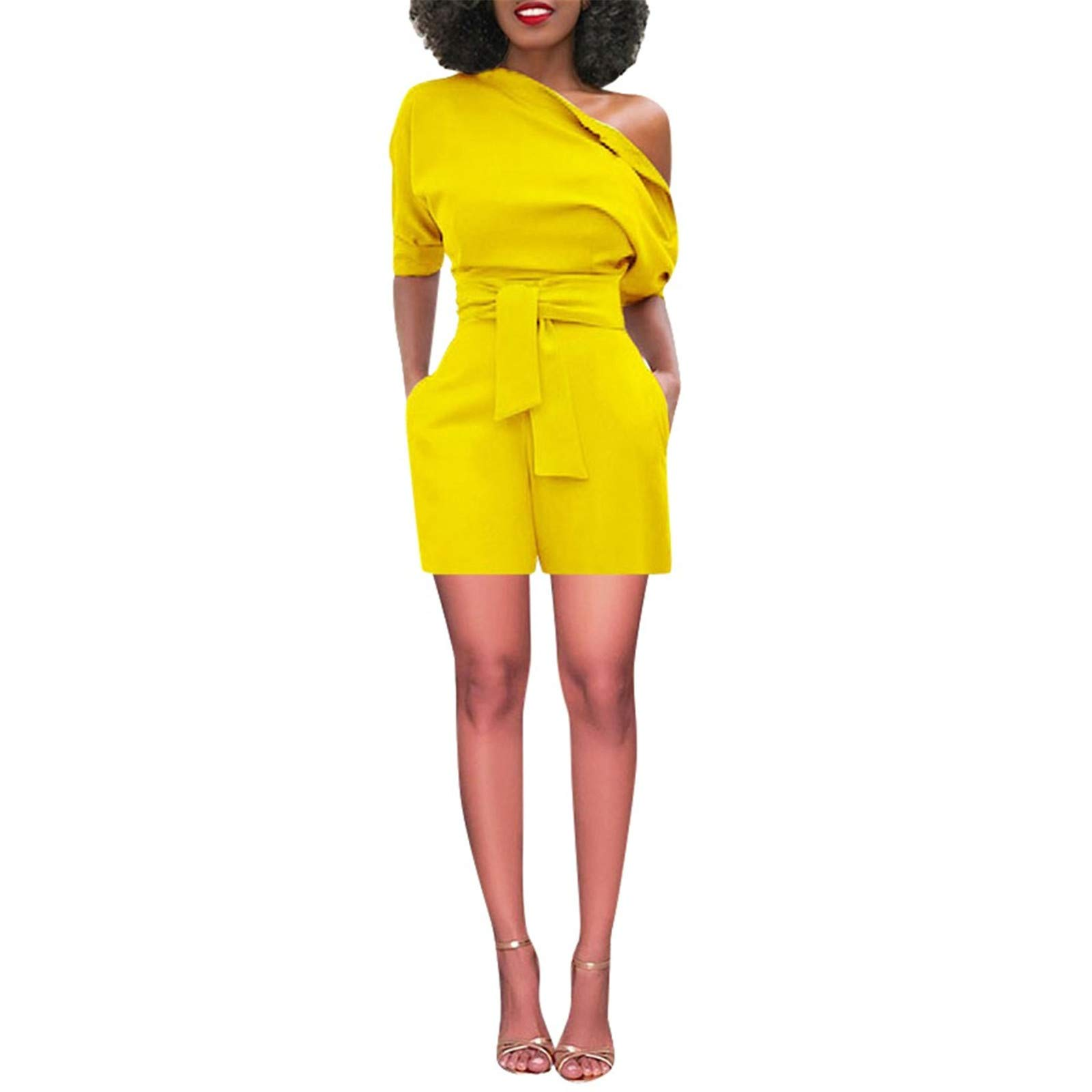 Thenxin Office Lady Jumpsuit Shorts Off Shoulder Short Sleeve Romper High Waist Playsuit with Belt(Yellow,M)
