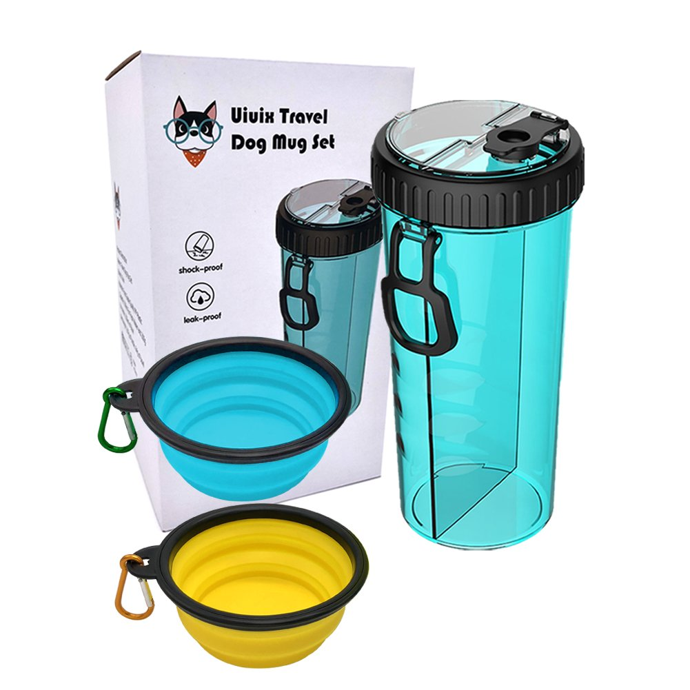 Uiuix Dog Water Bottle Bowl, 2-in-1 Travel Portable Dog Food Container Water Bottle Walking 2 Collapsible Dog Bowls (Blue)