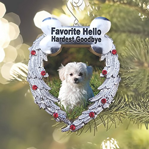 Dog Christmas Ornament - Dog Memorial Photo Christmas Ornament - Favorite Hello Hardest Goodbye Saying - Loss of a Dog Ornament Tree Shaped Pewter Ornament