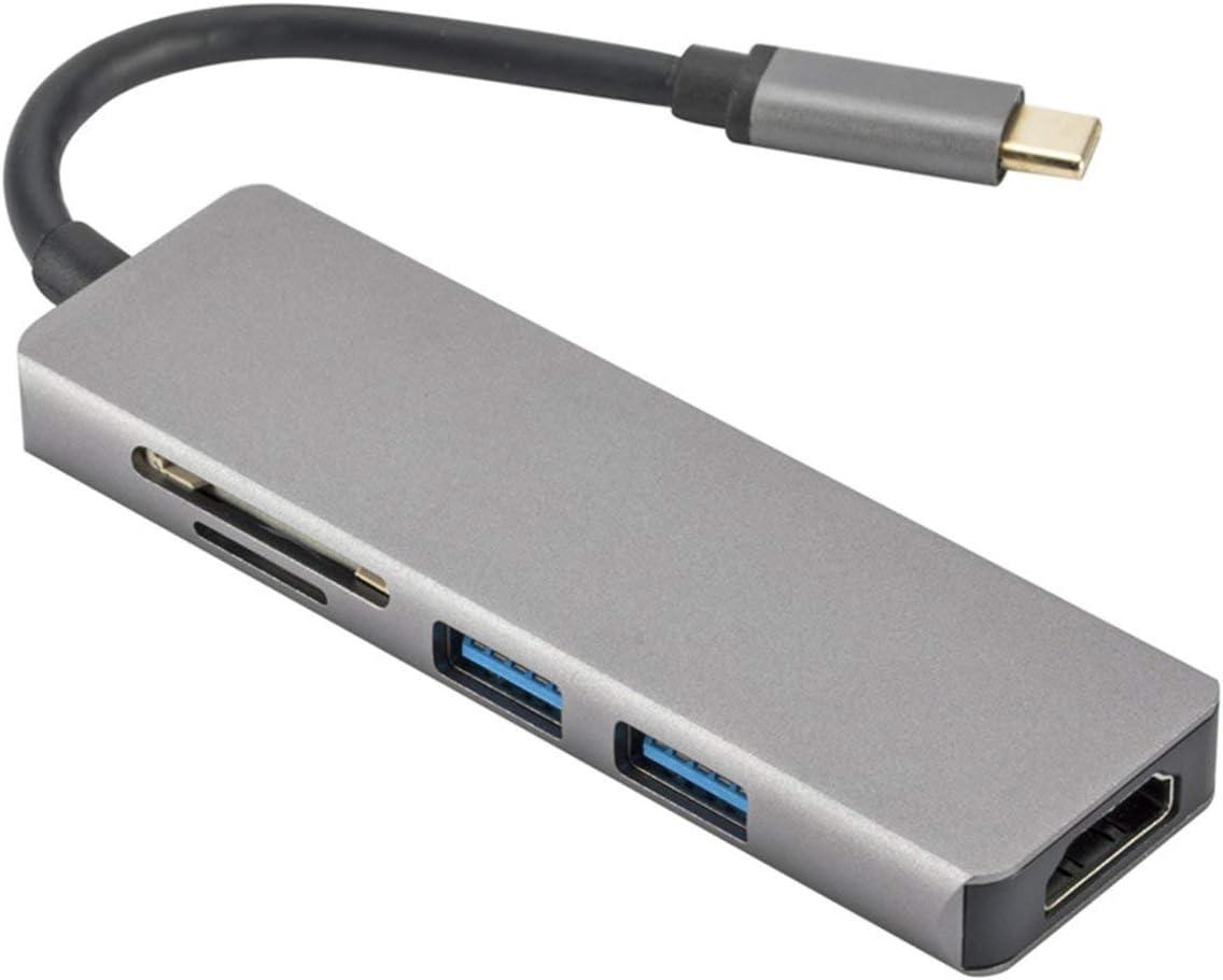 gris espace camellia/® Hub en alu nium nce de type C Thunderbolt 3 /à adaptateur HD 4K lecteur de carte SD//cro Sd deux ports USB 3.0