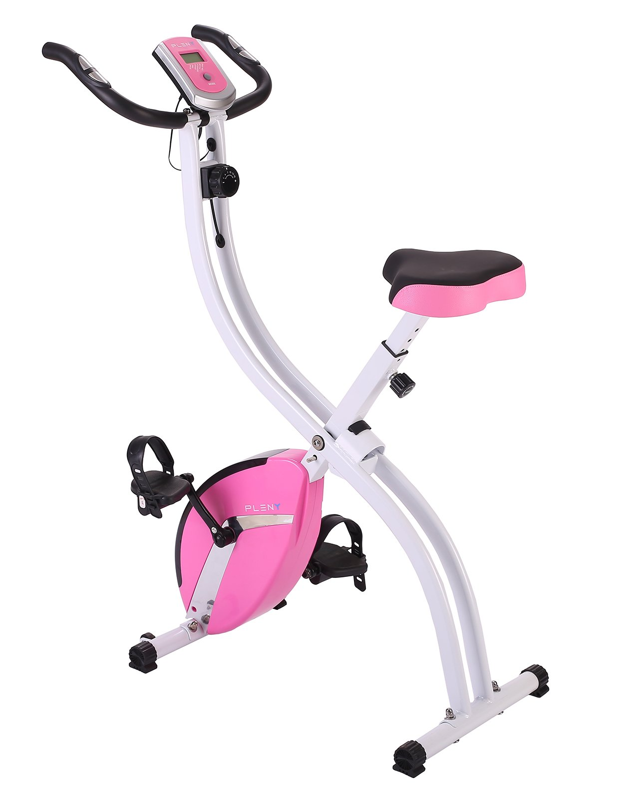 PLENY Foldable Upright Stationary Exercise Bike with 16 Level Resistance, New Exercise Monitor with Phone/Tablet Holder (Pink) by PLENY (Image #2)