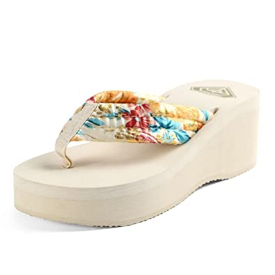 e5270344731a2 Image Unavailable. Image not available for. Color  CYBLING Womens Platform  Thong Sandals Comfortable Thick Bottom Bohemian Beach Flip Flops Summer  Slipper