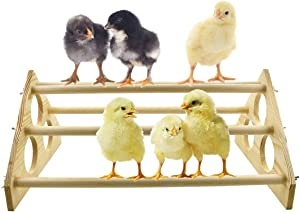 Vehomy Chicken Perch for Chicks Chicken Wood Stand with Holes Chick Stand Trainning Perch Chicken Roost bar for Chicks Chicken Swing Chicken Toy for Hens
