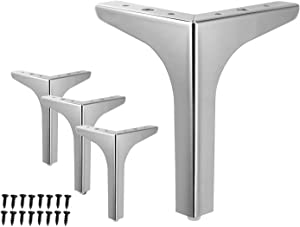 WEICHEN 7 inches Metal Furniture Legs Metal Polishing Silver Triangle Sofa Legs for Table Cabinet Cupboard Sofa Furniture Feet Set of 4 (7 inches-Silver)