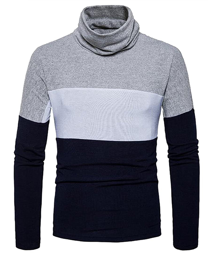 SBABY-Men Stylish Contrast Color High Collar Slim Fit Pullover Knit Sweater
