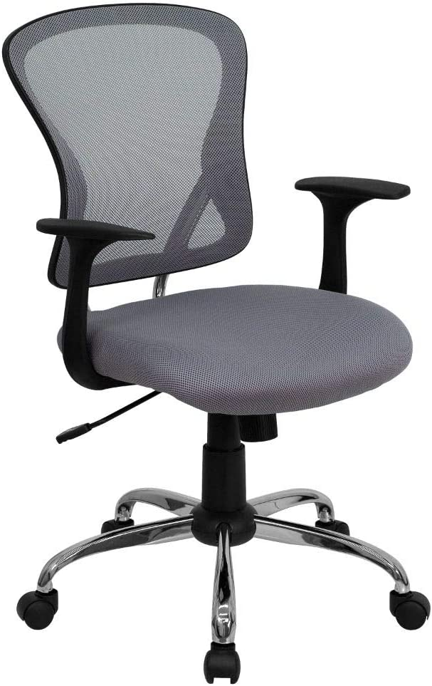 Flash Furniture Mid-Back Gray Mesh Swivel Task Office Chair with Chrome Base and Arms