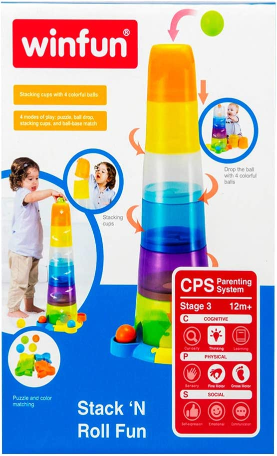 winfun Stackable Glass Tower with Beads Lights and Sounds ColorBaby 40537