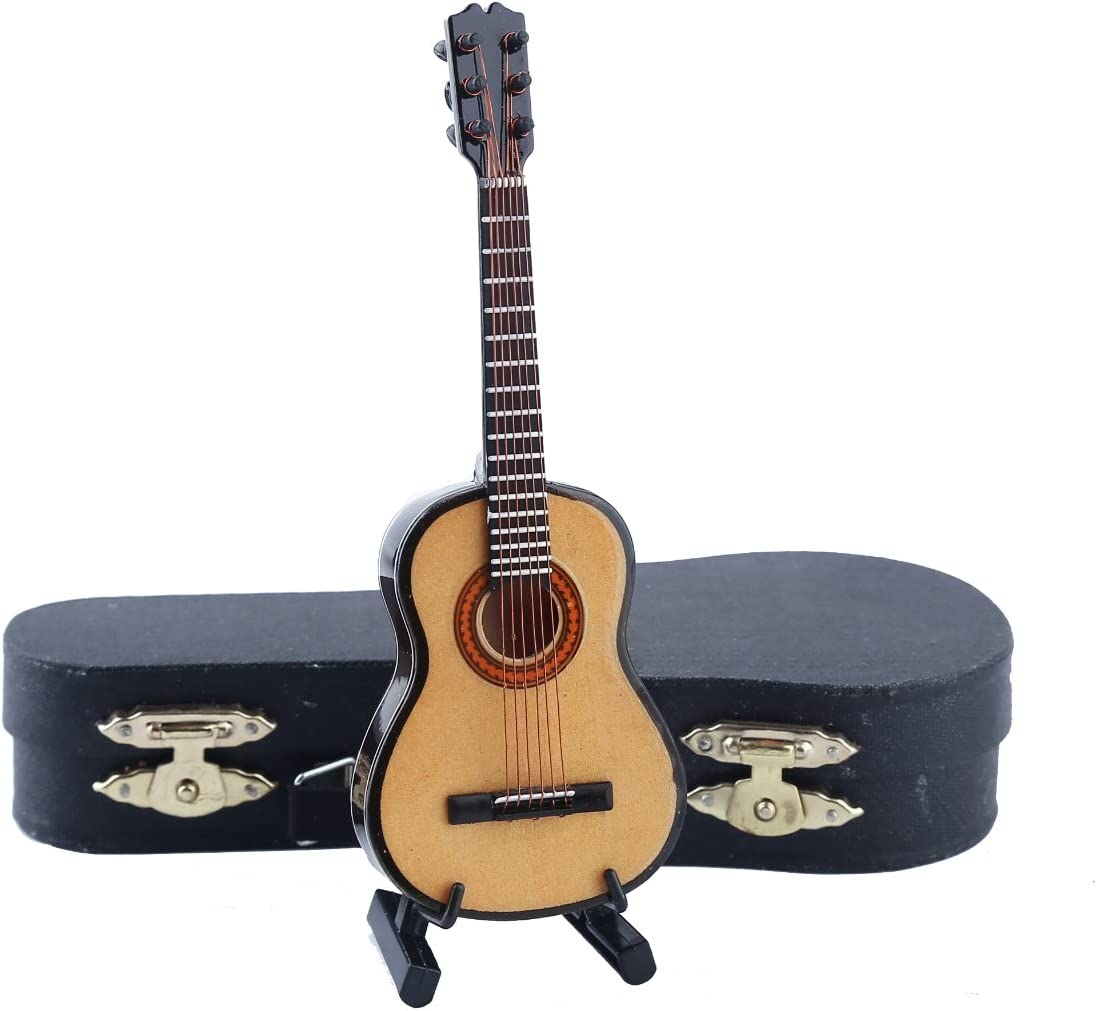 "Dselvgvu Wooden Miniature Guitar with Stand and Case Mini Musical Instrument Replica Collectible Miniature Dollhouse Model Home Decoration (Classic Guitar:Wood Color, 5.12""x1.86""x0.68"")"