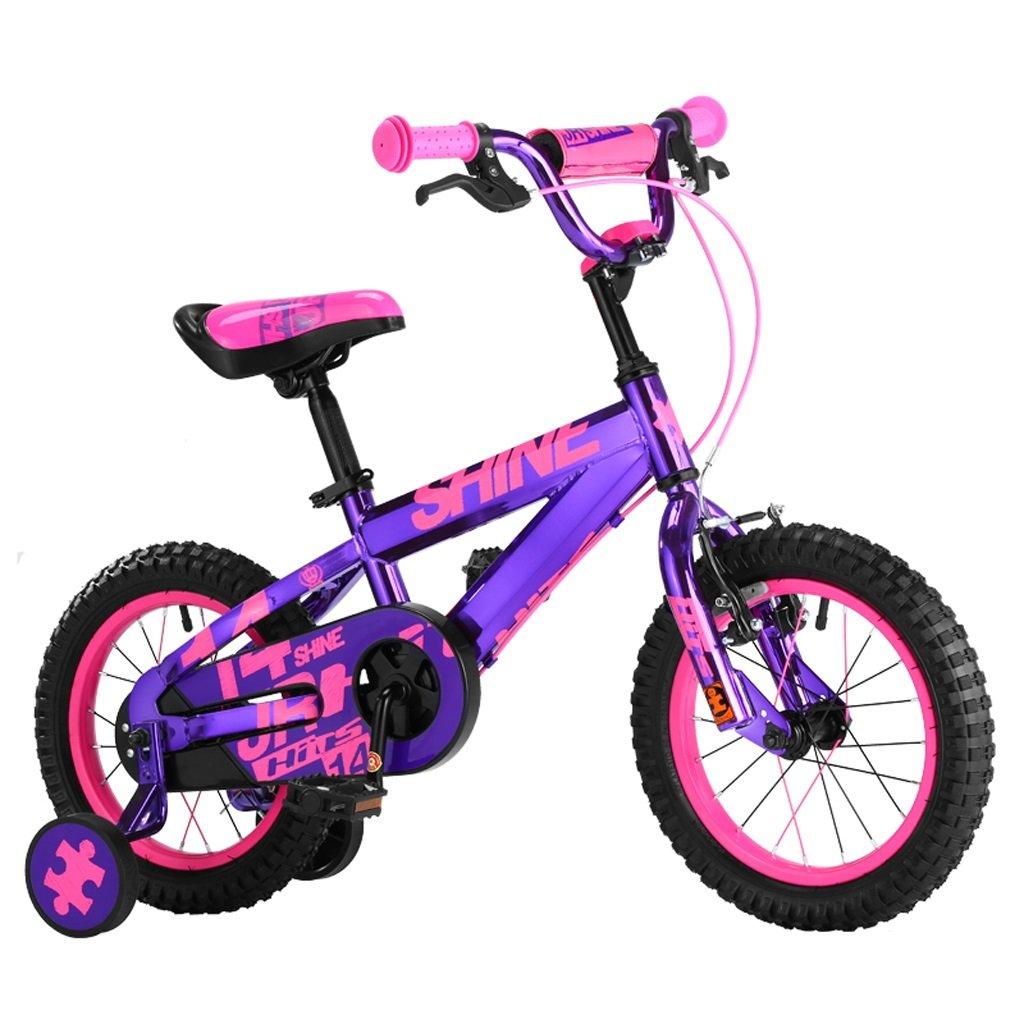 子供用自転車、3-6歳の男の子、女の子用の自転車、高さ1412cm、90110cm (Color : Purple) B07D2GK851