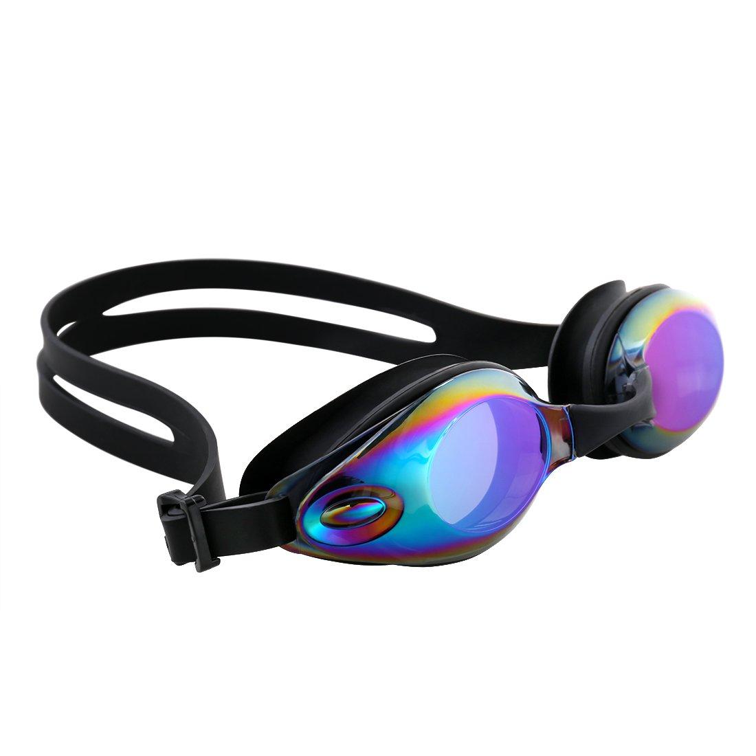 Caiyuangg Occhiali da Nuoto Sportivi con Protezione Anti-appannamento, Protezione UV al 100%, Naselli Intercambiabili, Inclusa Custodia per Adulti, Bambini, Uomini e Donne