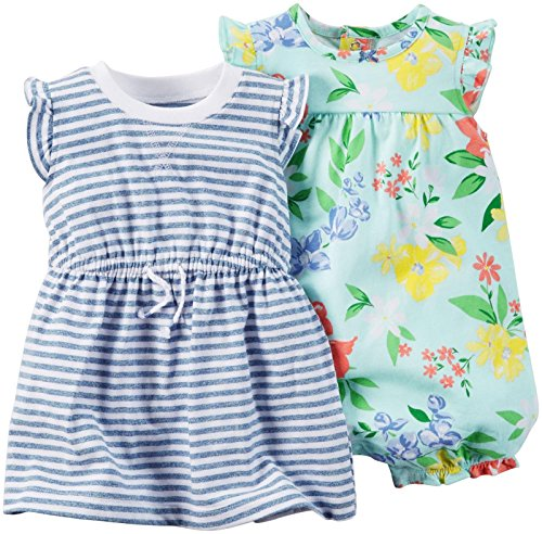 Carter's Baby Girls' 2 Pack Rompers 121g479, Blue Floral, 18 Months