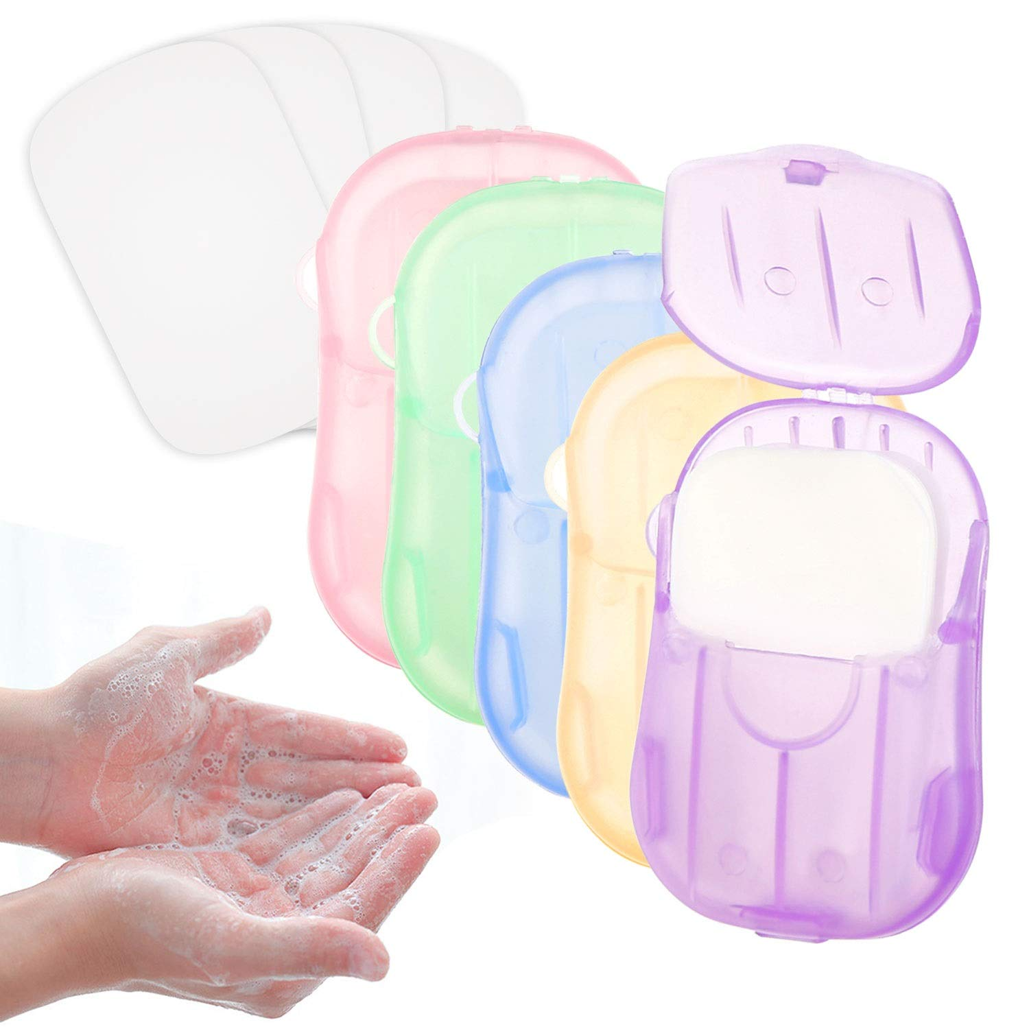 LOTSOF Hand Wash Portable Disposable Soap Paper Clean Hand Washing Bath Scented Natural Soft Foaming Washing Hand Bath Toiletry Soap for Travel Outdoor, Camping Hiking (5 Colors)