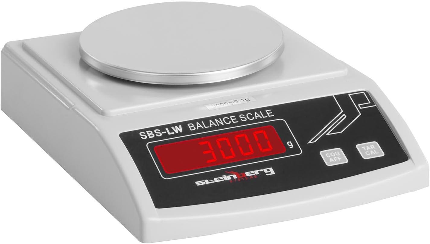 Steinberg Systems Balanza de Precisi/ón Bascula Digital SBS-LW-3000N 3000 g // 0,1 g, Pantalla LED, Diversas funciones
