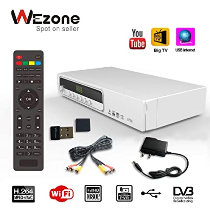 Wezone 8786 DVB-S2 Satellite TV Receiver Set Top Box MPEG-4 H264 HD Support  Free to Air, PVR Playback USB Storag, USB Cable/ Dongle Network