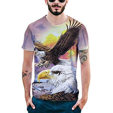 0a781a48180 XNRHH Men and Women Lovers Hip-hop Loose Large Size Street Style Blouse  Eagle Pattern