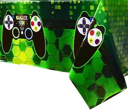 Todo para el streamer: WERNNSAI Mantel Tema de Videojuegos - 4 PCS 110 x 180 CM Mantel Desechable de Plástico Impreso, Artículos de Fiesta para Niños Juego Geek Gamer Temático Decoración de Fiesta