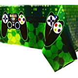 WERNNSAI Video Game Table Covers - 4 PCS 71'' x 43'' Disposable Printed Plastic Tablecloth, Party Supplies for Kids Player Geek Game Themed Party Decoration