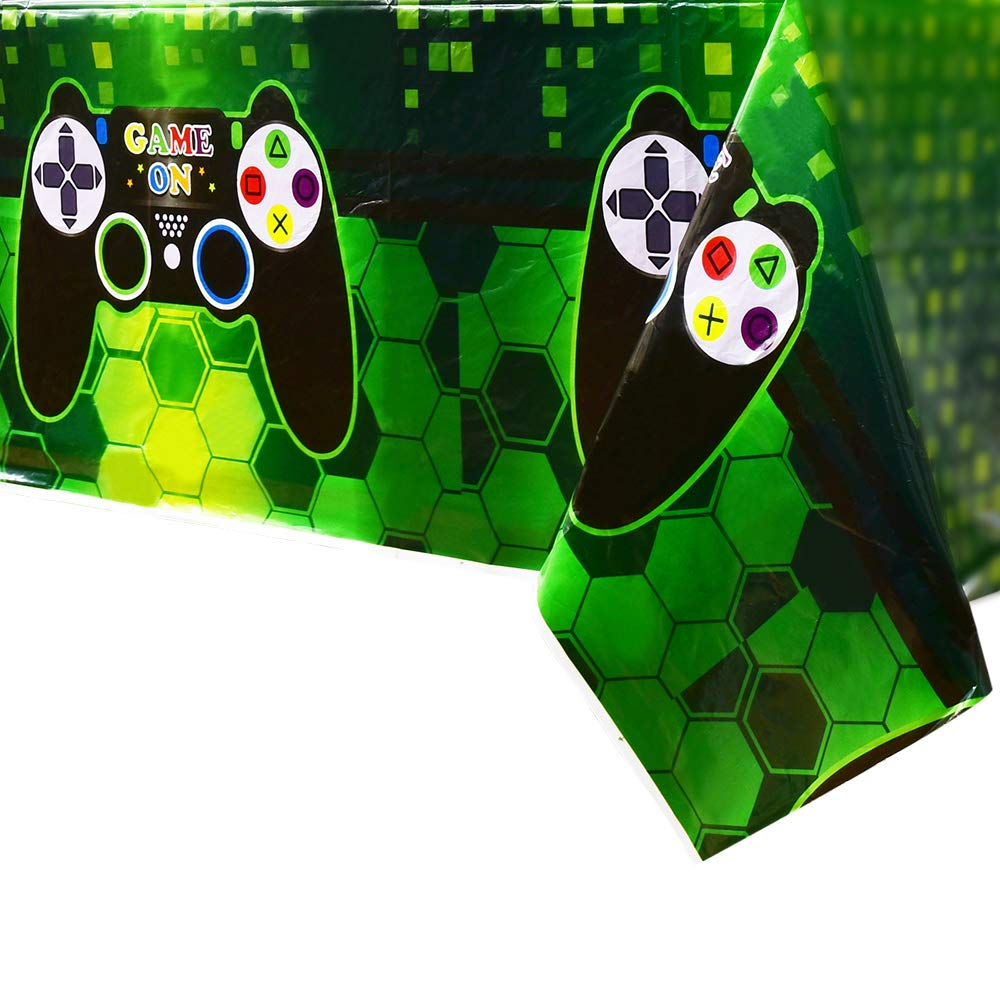 WERNNSAI Video Game Table Covers - 4 PCS 71'' x 43'' Disposable Printed Plastic Tablecloth, Party Supplies for Kids Player Geek Game Themed Party Decoration by WERNNSAI
