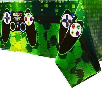 WERNNSAI Mantel Tema de Videojuegos - 1 PCS 110 x 180 CM Mantel Desechable de Plástico Impreso, Artículos de Fiesta para Niños Juego Geek Gamer ...