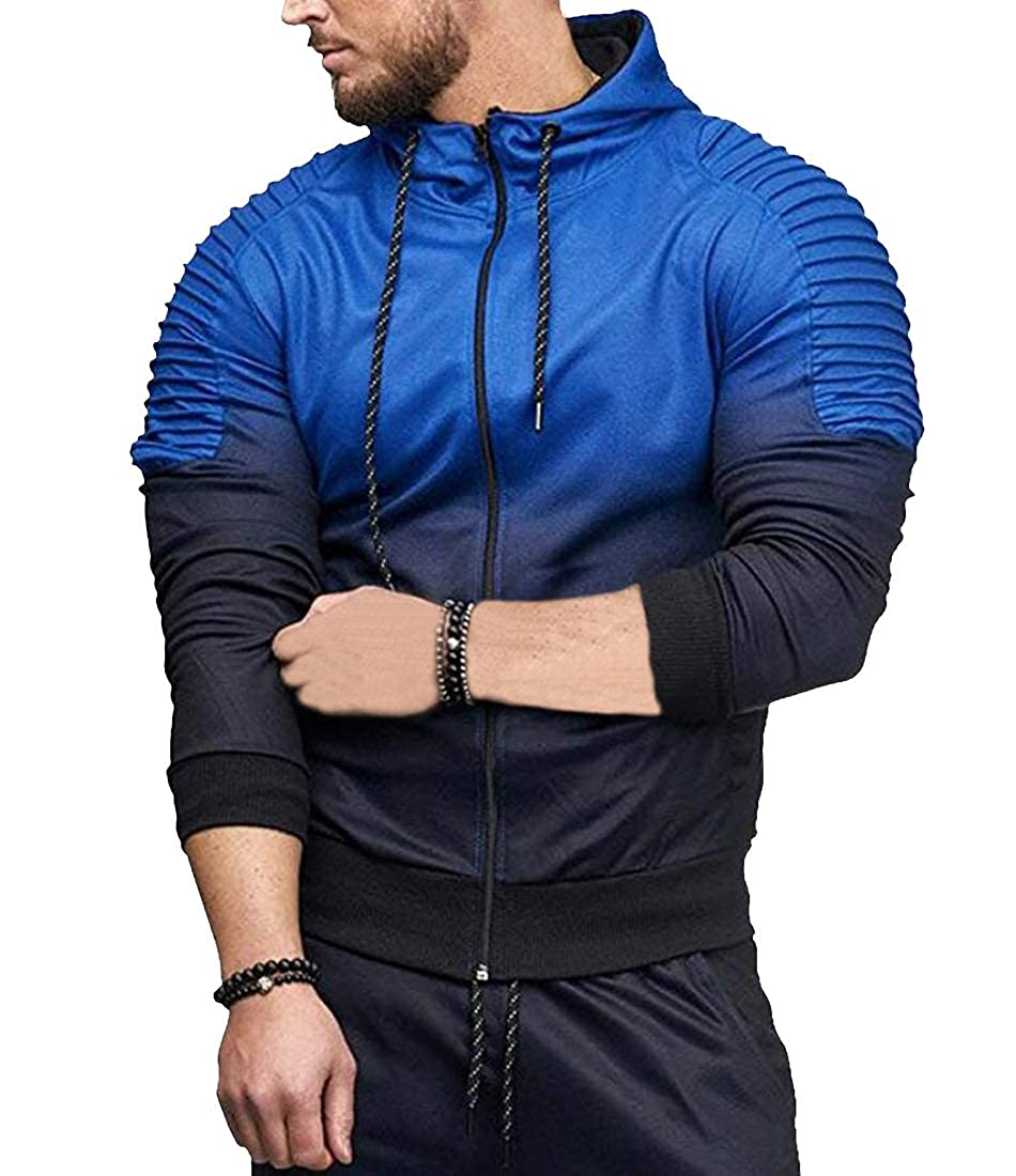 Cromoncent Mens Hoodie Stripe Ombre Color Athletic Coat Jacket Sweatshirts