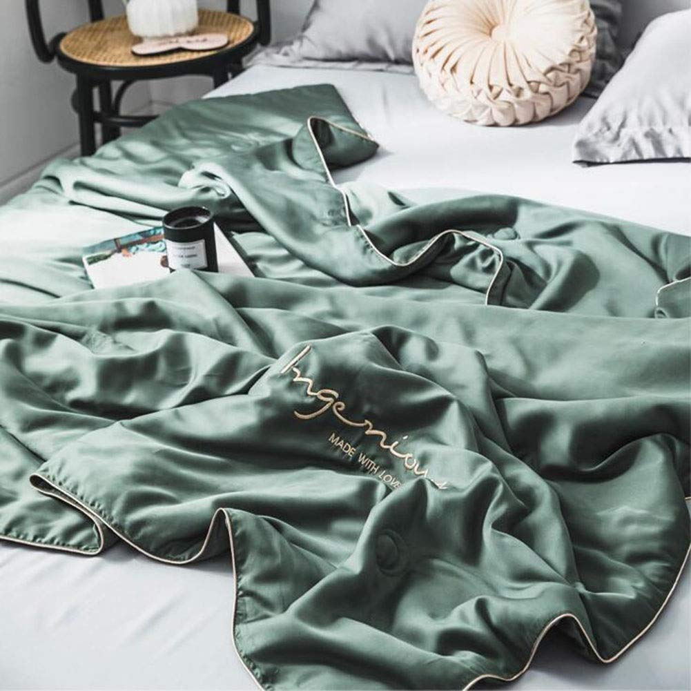 Solid Silk Thin Quilt Sofa Blanket Baby Blanket Color : Light Gray, Size : 150 * 200cm Summer Thin Quilt -200 * 230cm Air-Conditioned Room Shawl