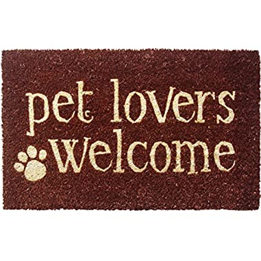 Entryways Pet Lovers Welcome Non-Slip Coir Doormat