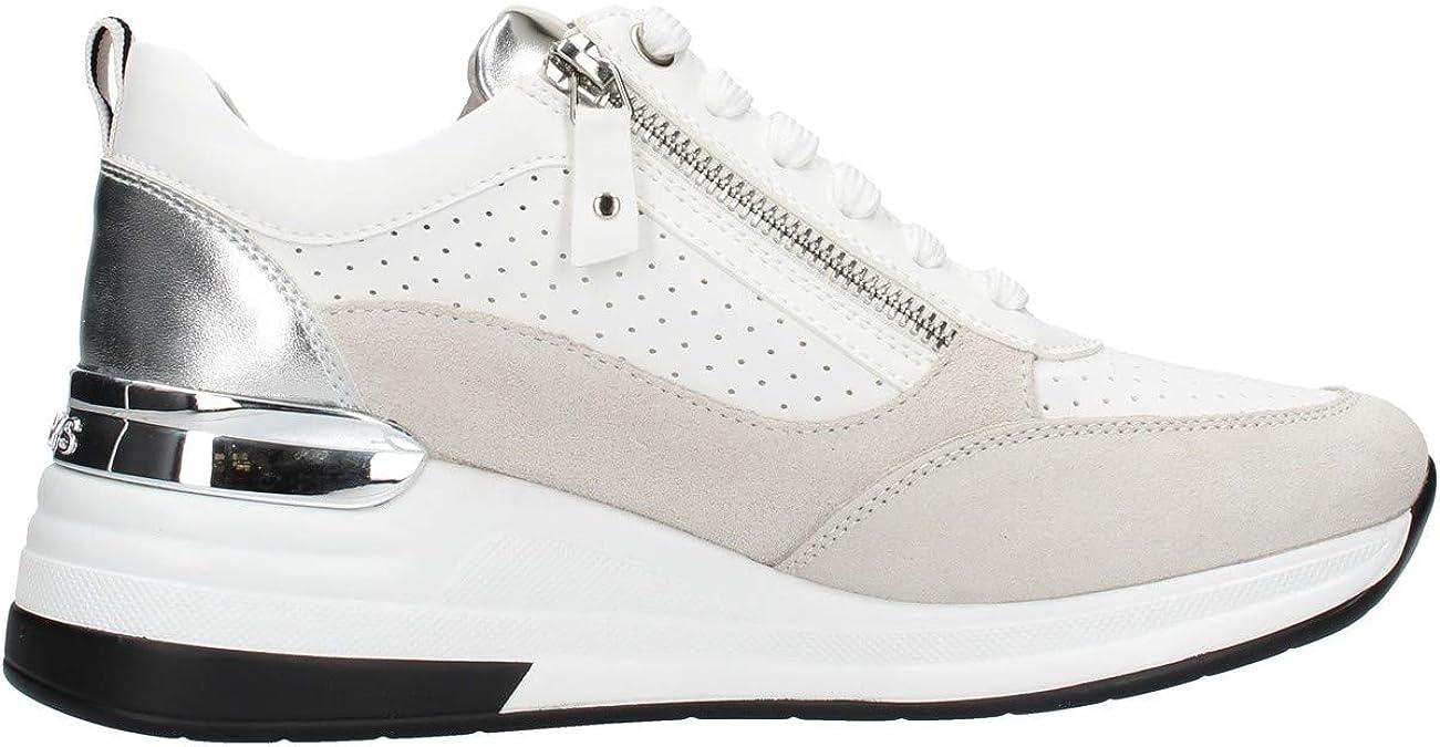 KEYS 5501 NERO BIANCO PLATINO scarpe donna sneakers pelle casual zeppa lacci