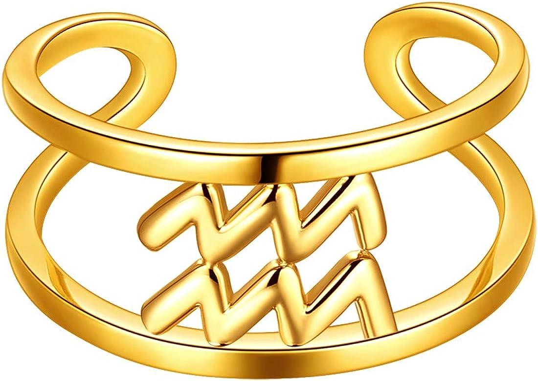 Beautlace Horoscope Zodiac Adjustable Ring 12 Constellation Astrology 18K Gold/Silver/Black Gun Plated Opening Statement Ring for Women Men Teen Girls Jewelry Gift KR0002