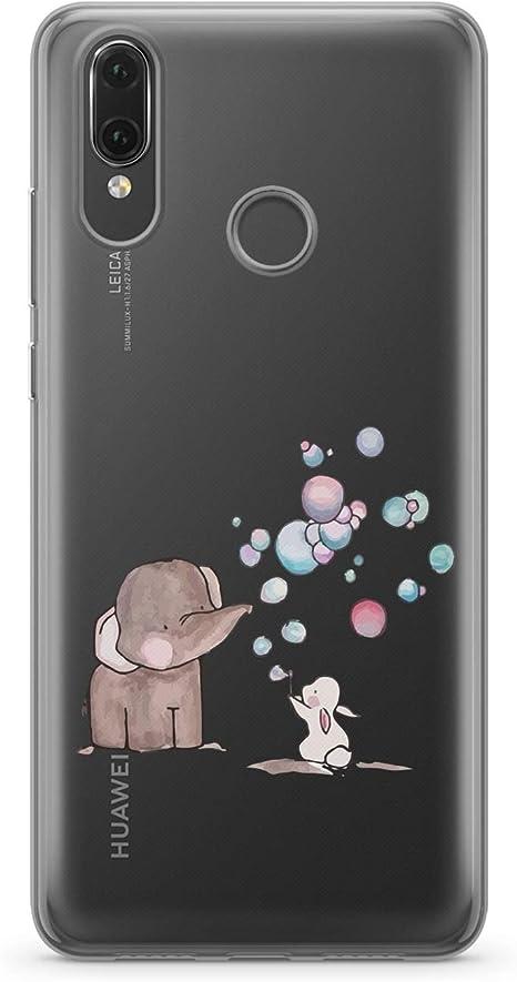 Finoo Custodia per Cellulare Huawei P20/Lite/ /Elefante Coniglio Palloncini /Custodia con Motivo e Protezione ottimale Silicone TPU Custodia Case Cover Custodia/