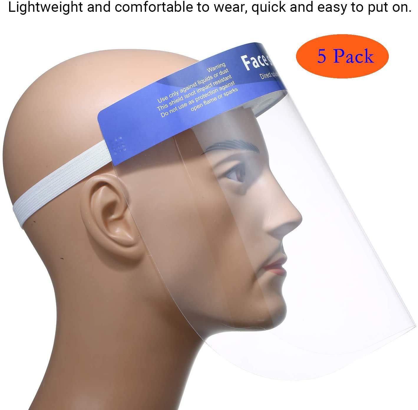 Pyjacos 5Pcs PET Protectores Faciales de Seguridad Protecci/ón m/áscara Visera