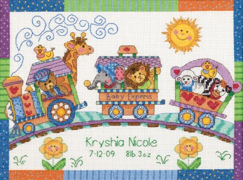 (Dimensions Counted Cross Stitch Kit Baby Express Birth Record Personalized Baby Gift, 14 Count White Aida, 12