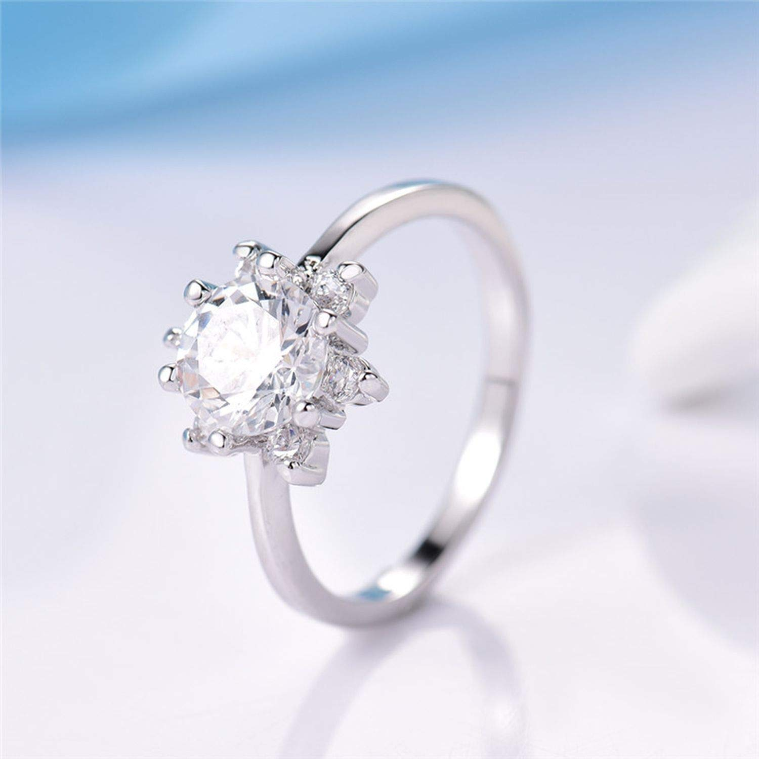 tankmm Fashion Luxury Flower Finger Mid Ring for Women Silver Color Crystal Cubic Zirconia Wedding Band Rings Jewelry